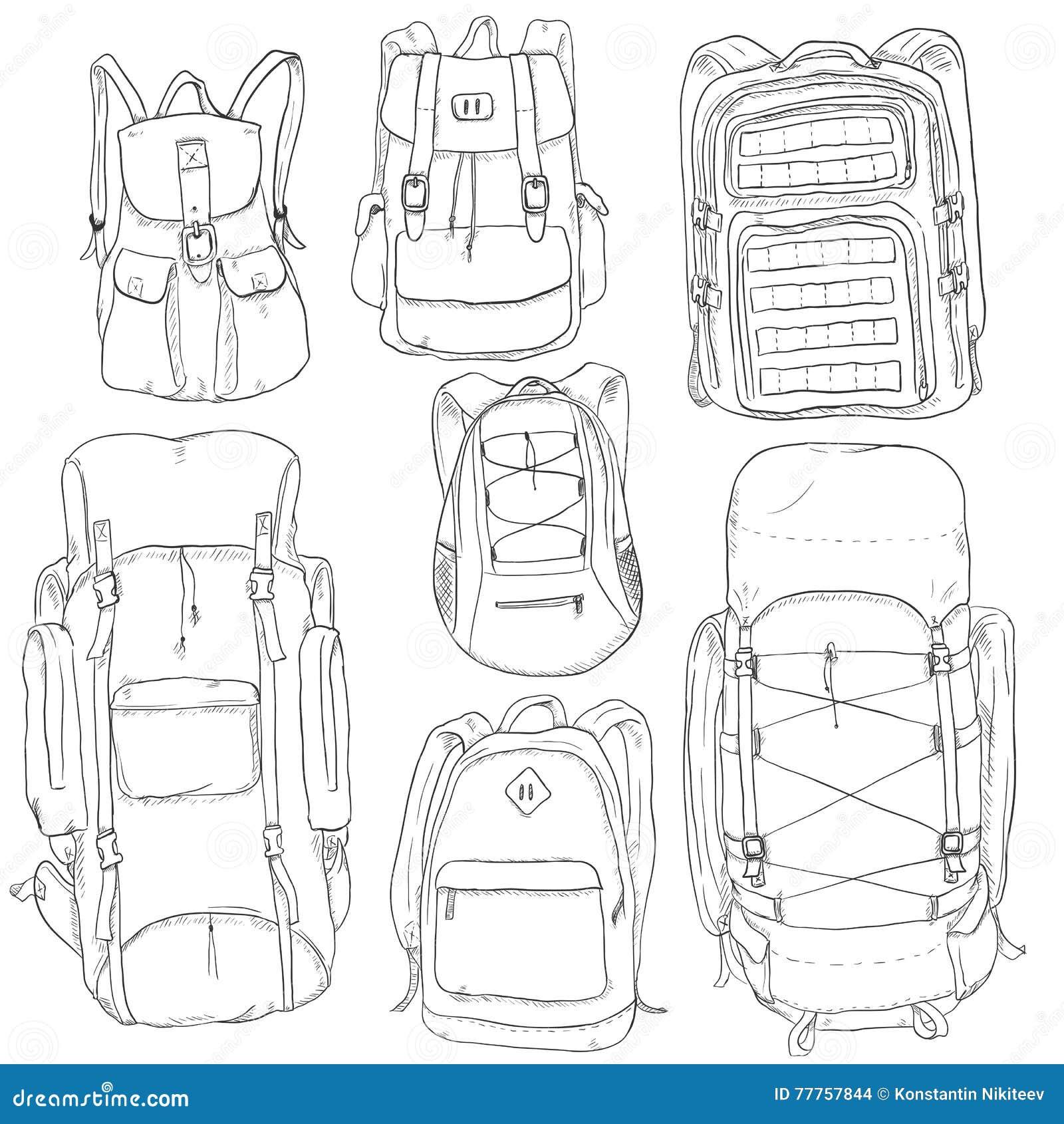 2c0c2d444d6b Vector Set Of Sketch Doodle Backpacks Stock Illustration ...
