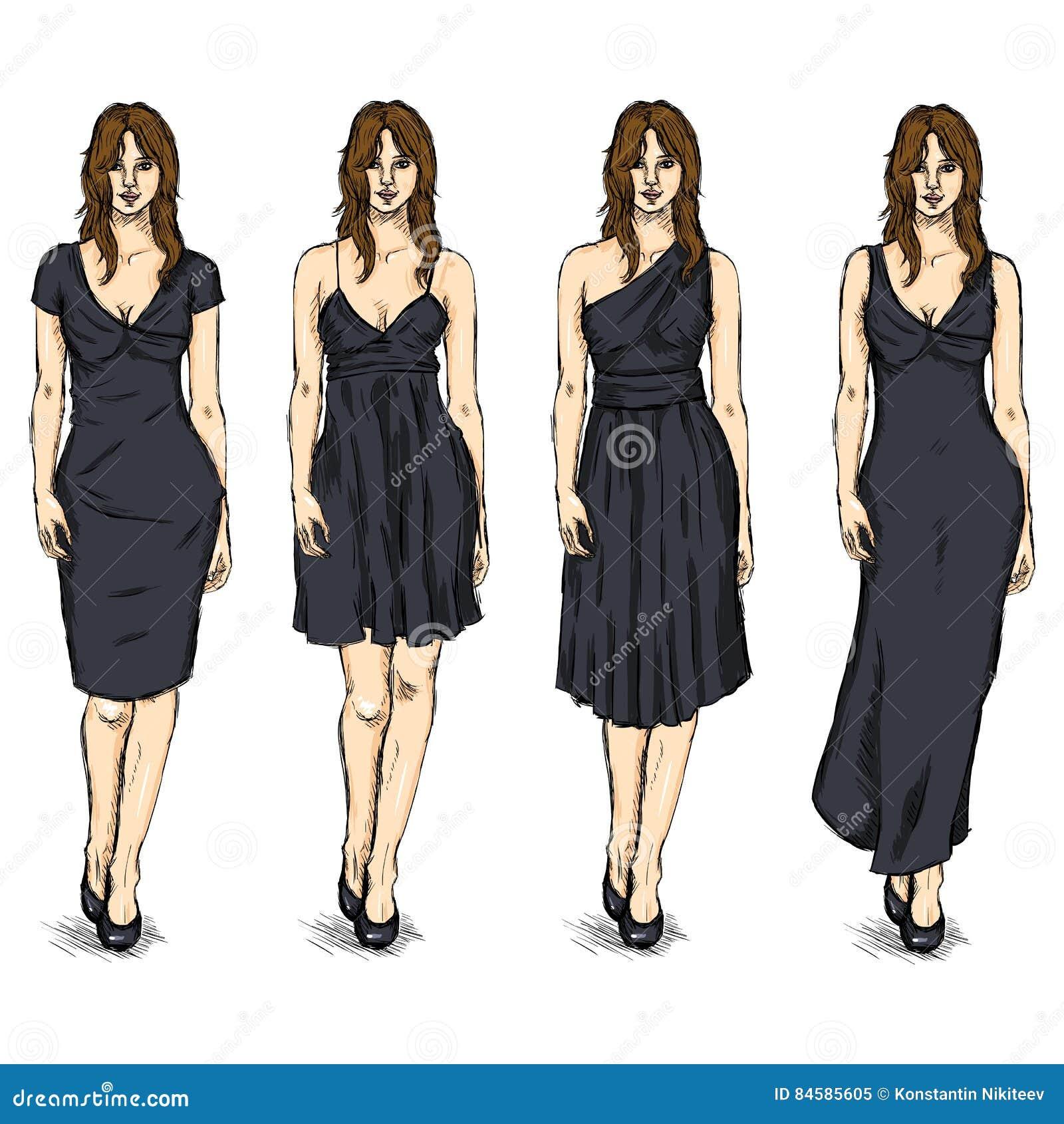 Vector Set of Sketch Female Fashion Models in Dress