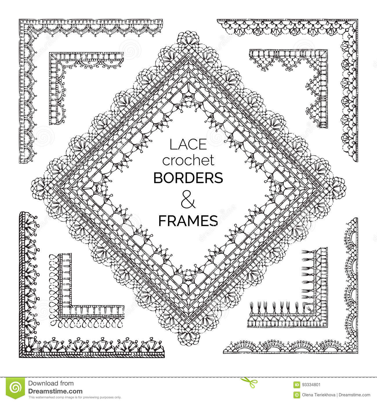 Vector Set Of Sketch Lace Crochet Borders And Frames Stock Vector