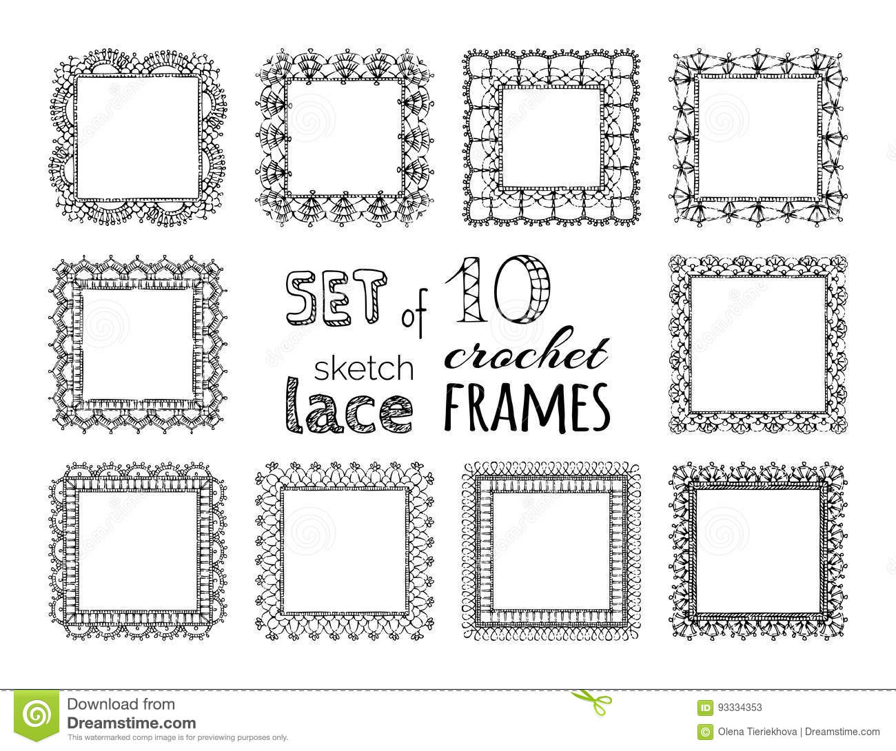 vector set of 10 sketch lace crochet square frames stock vector