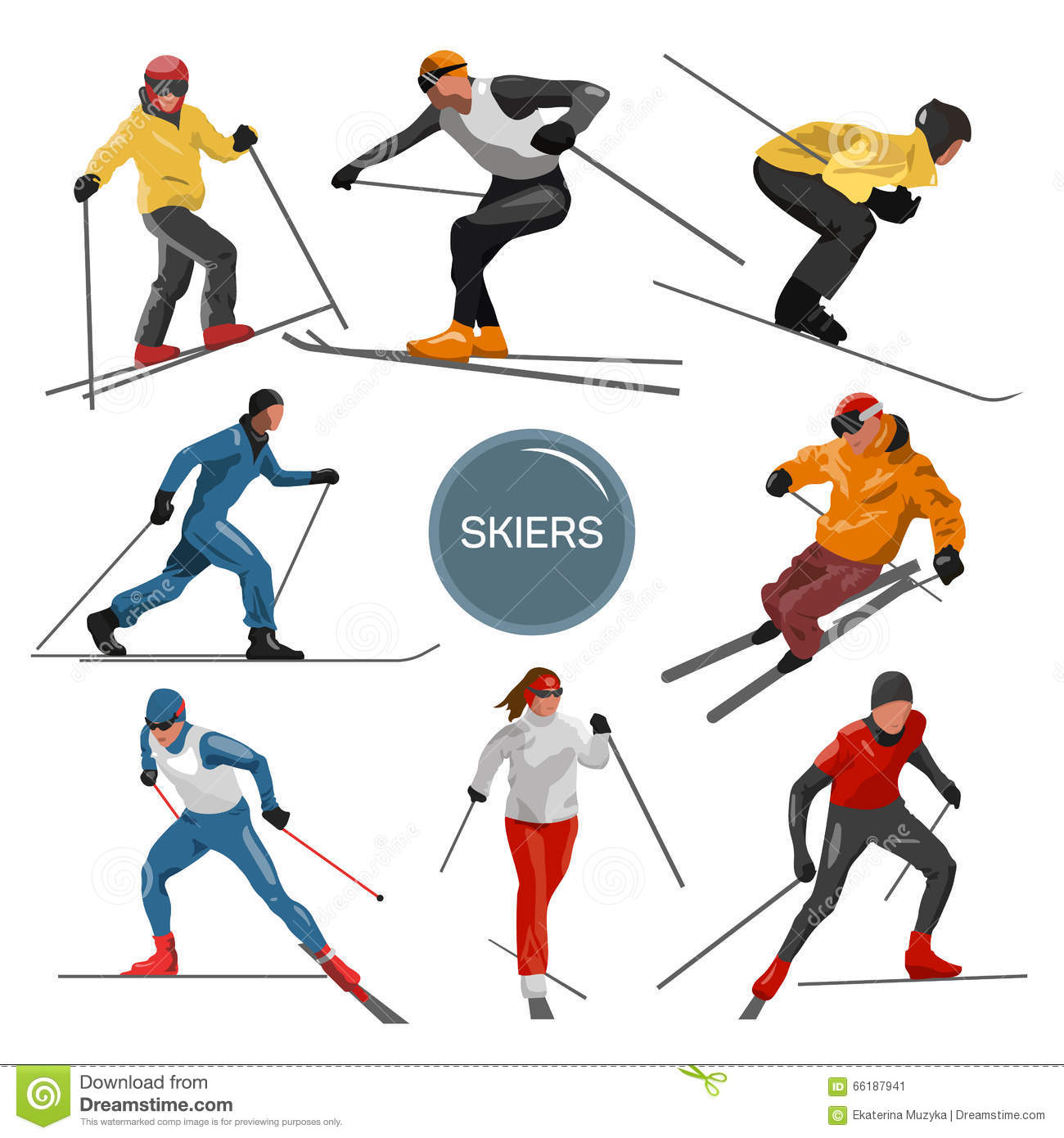 Vector set of skiers. People skiing design elements isolated on white background. Winter sport silhouettes in different