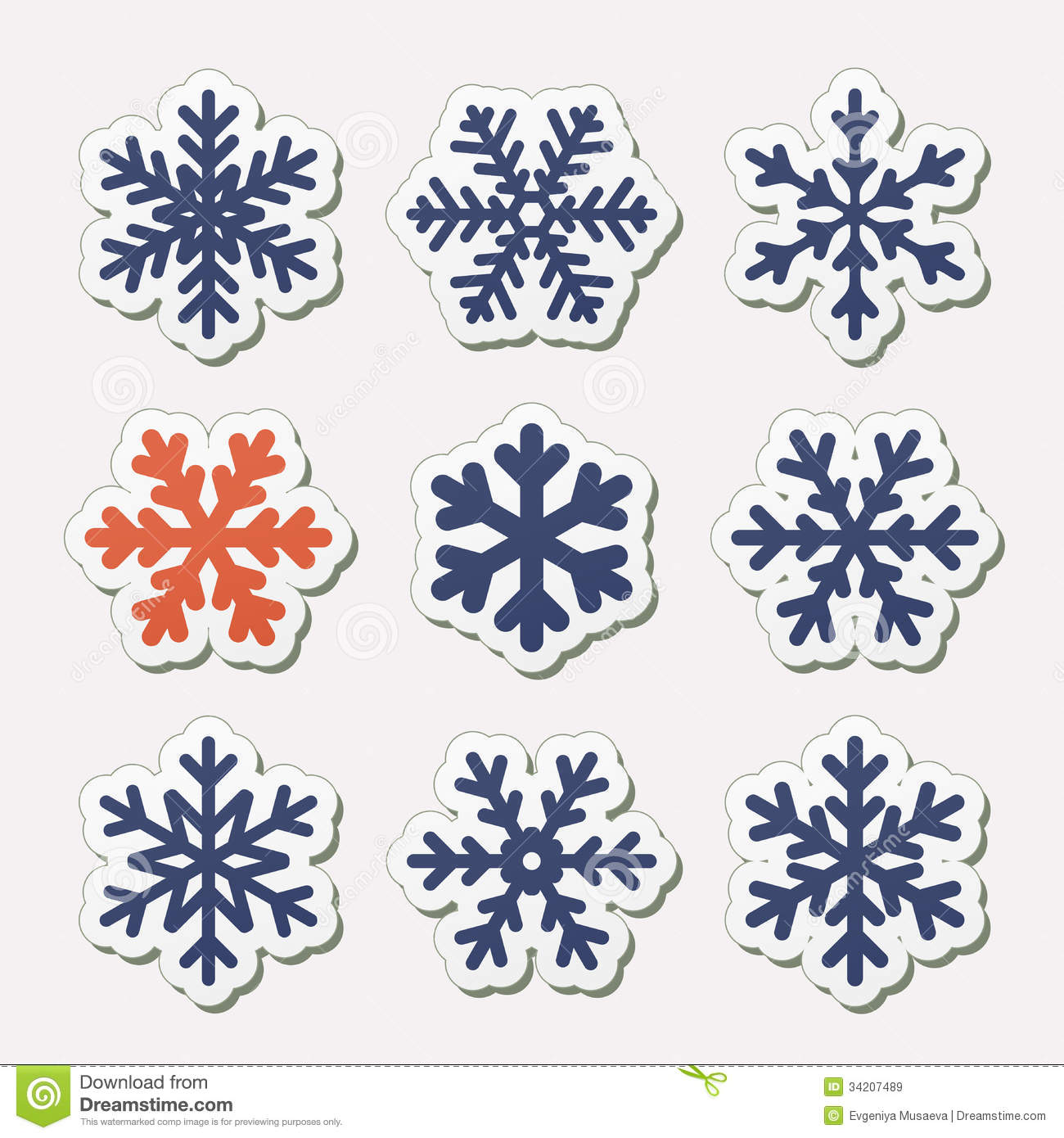 Simple Snowflake Shape Vector set of snowflakes.