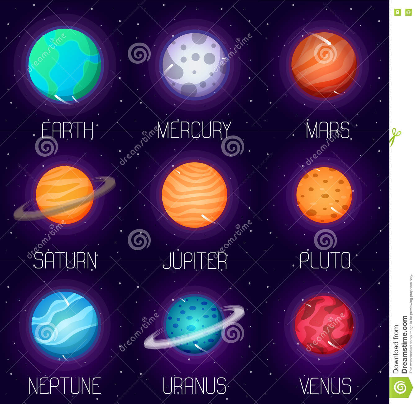 system planets in cartoon style outer space design elements and icons