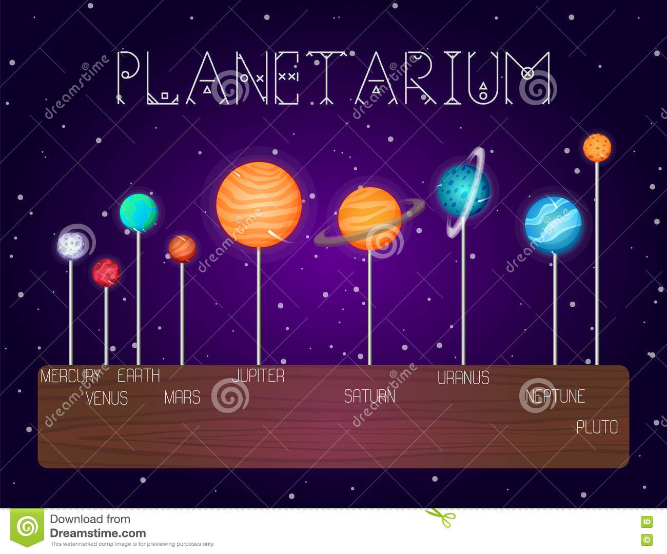 Vector set of solar system planets in line cartoon style for Outer space design