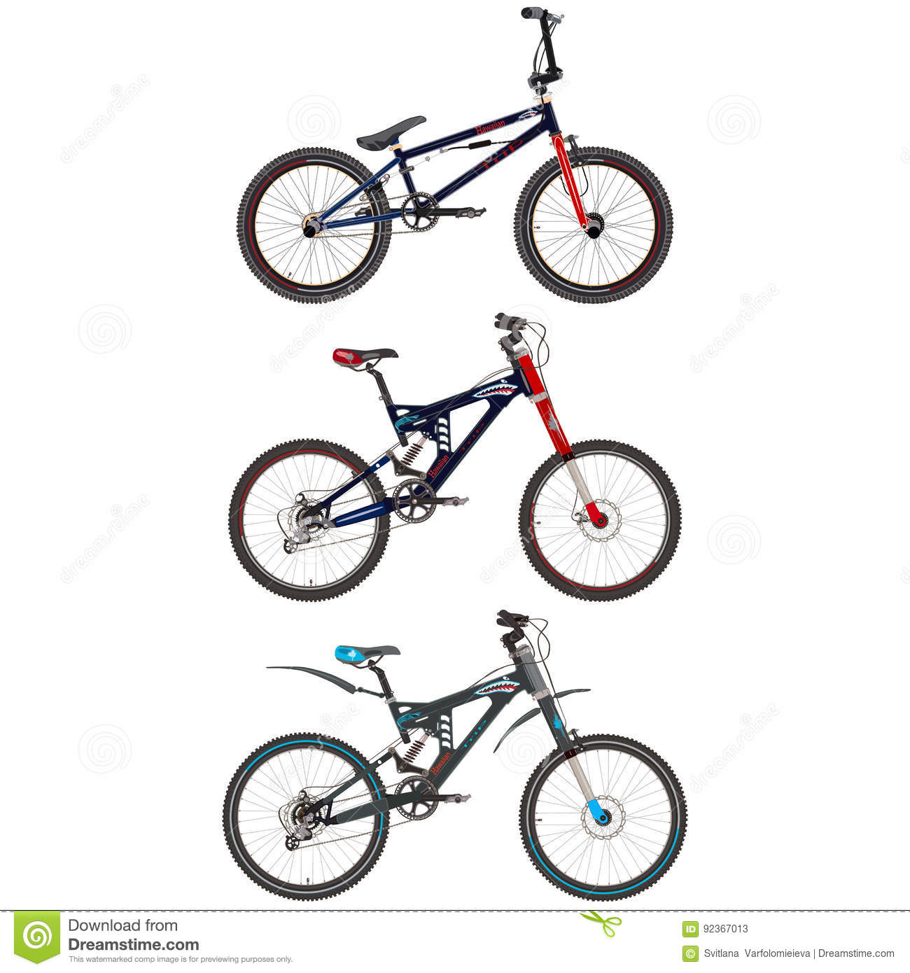 Vector Set Of Sport Bikes In Flat Style. Stock Vector - Illustration ...