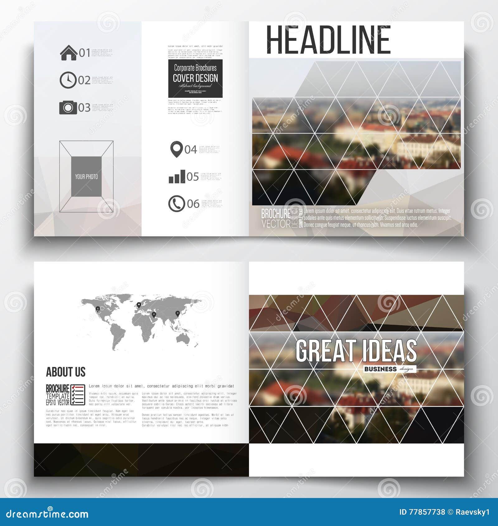 Vector Set Of Square Design Brochure Template Polygonal - Landscape brochure template