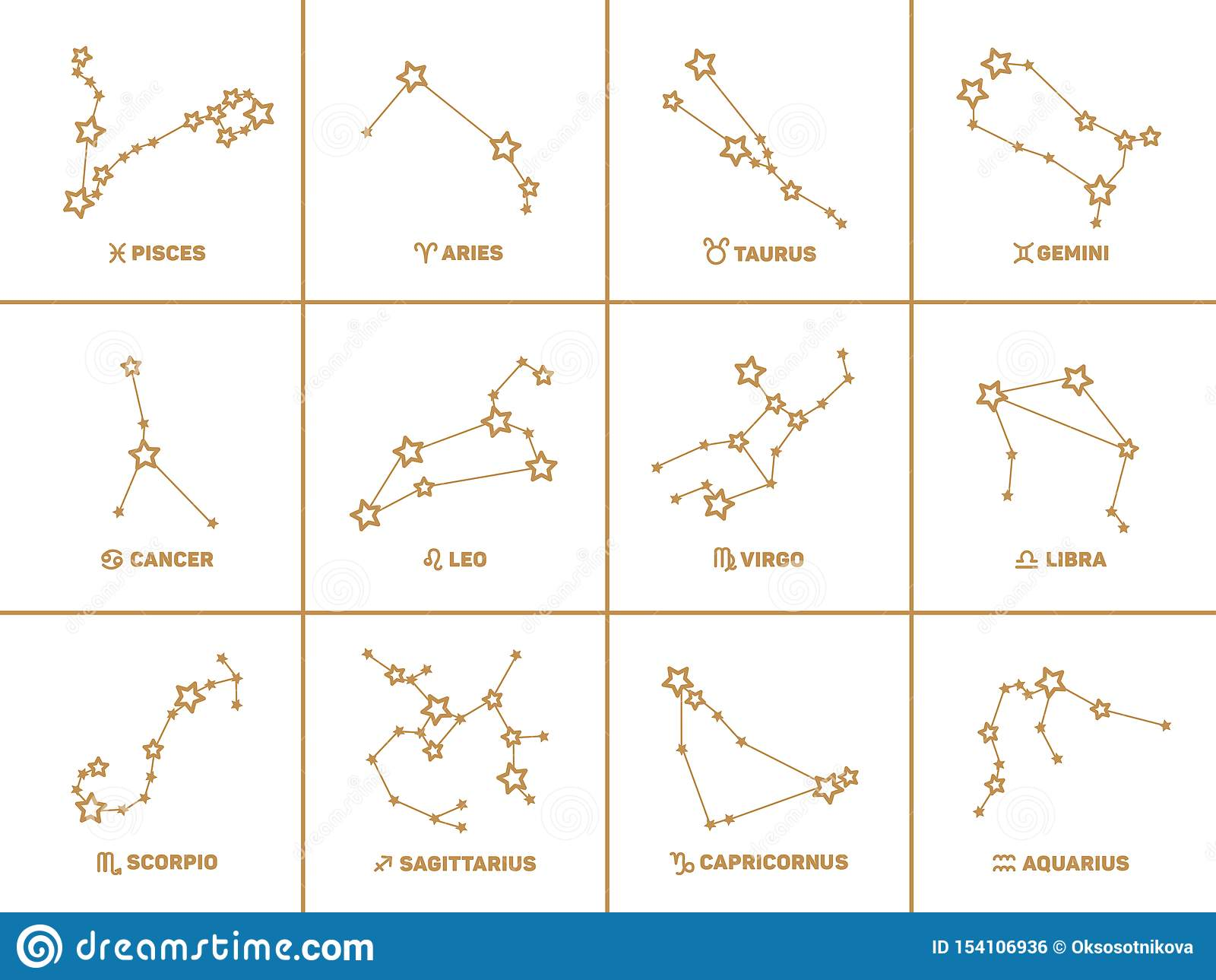 Vector Set Of Square Zodiac Signs Stars Constellations Golden Color On White Background Stock Vector Illustration Of Square Sign 154106936