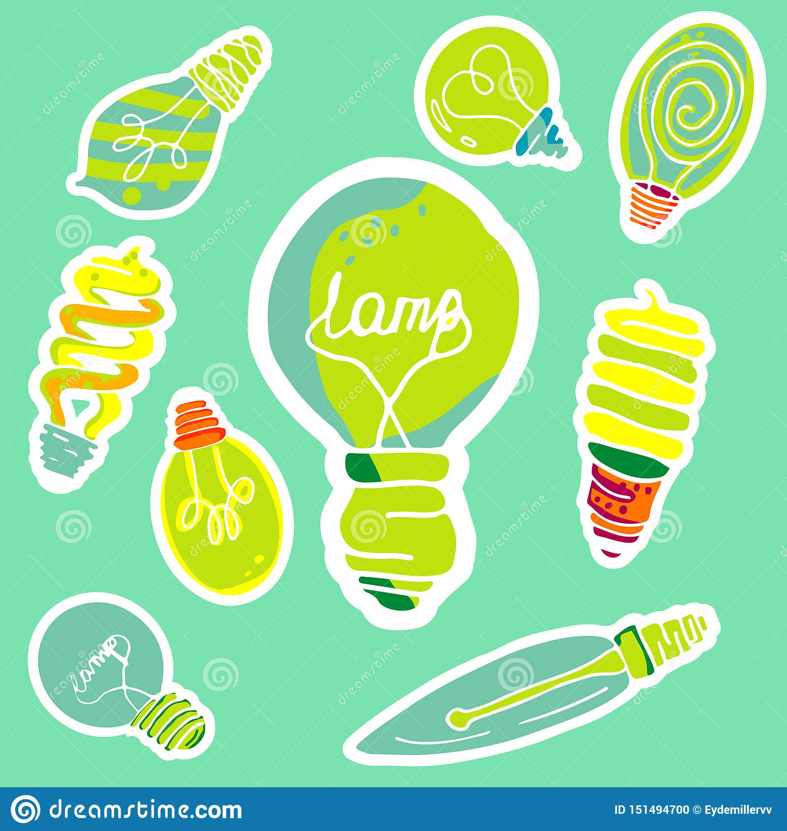 Vector set of stickers in the form of bulbs