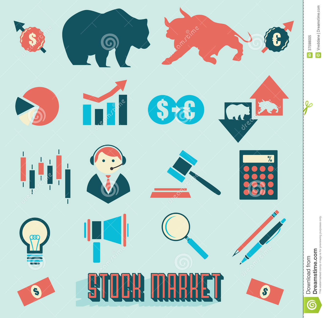 Vector Set Stock Market Icons And Symbols Stock Vector