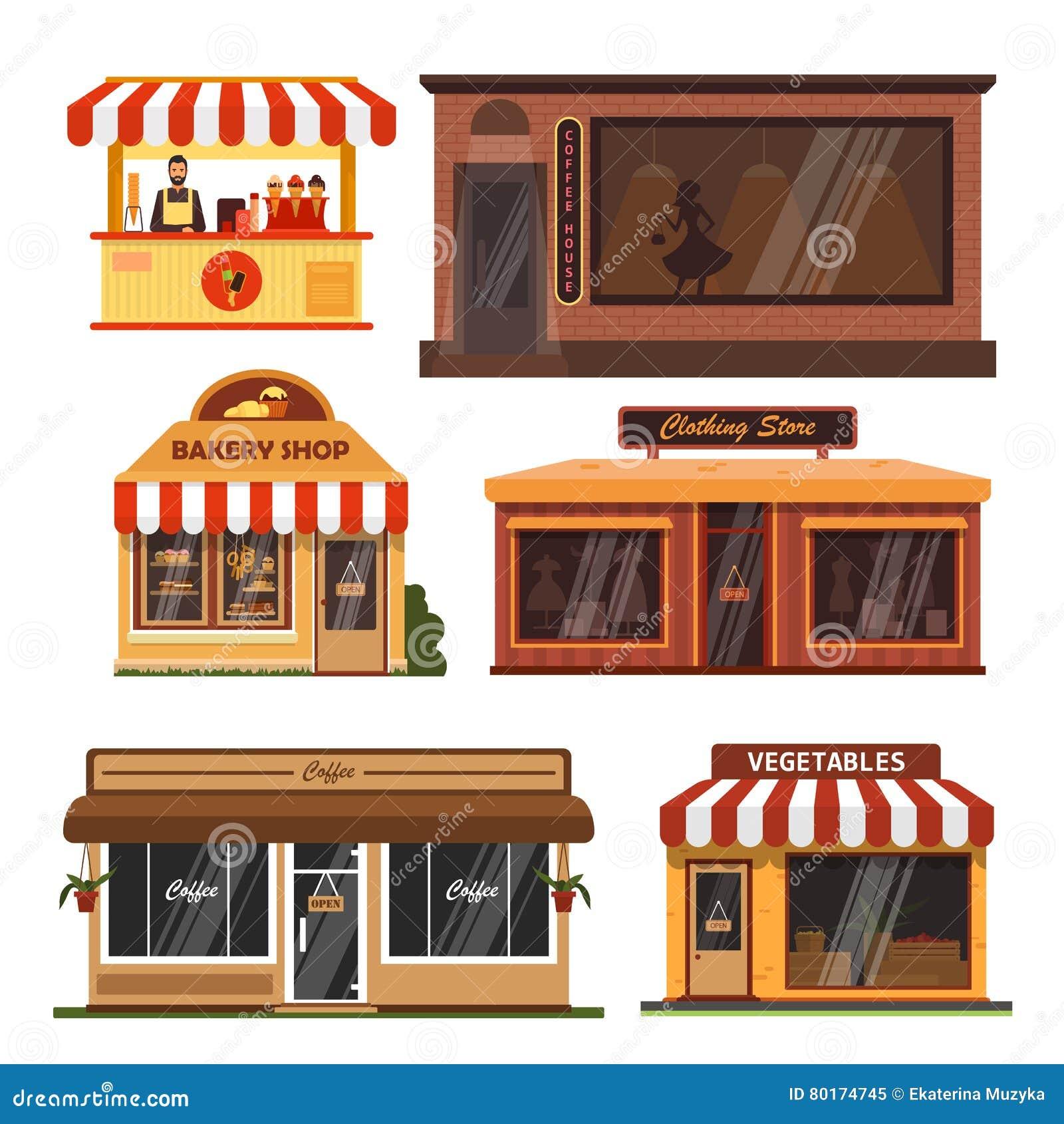 Shop facade elements vector set cartoon vector for Store building design