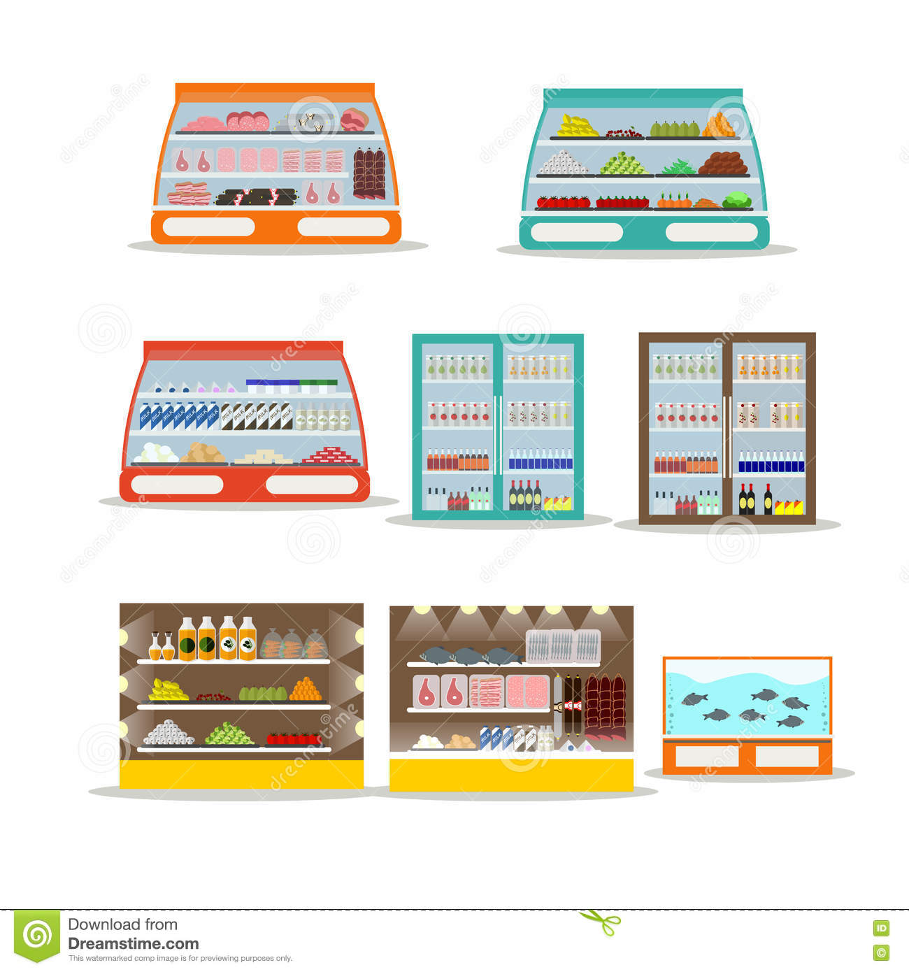 Vector Set Of Store Shelf Supermarket Shop Interior Design Elements And Icons On White Background