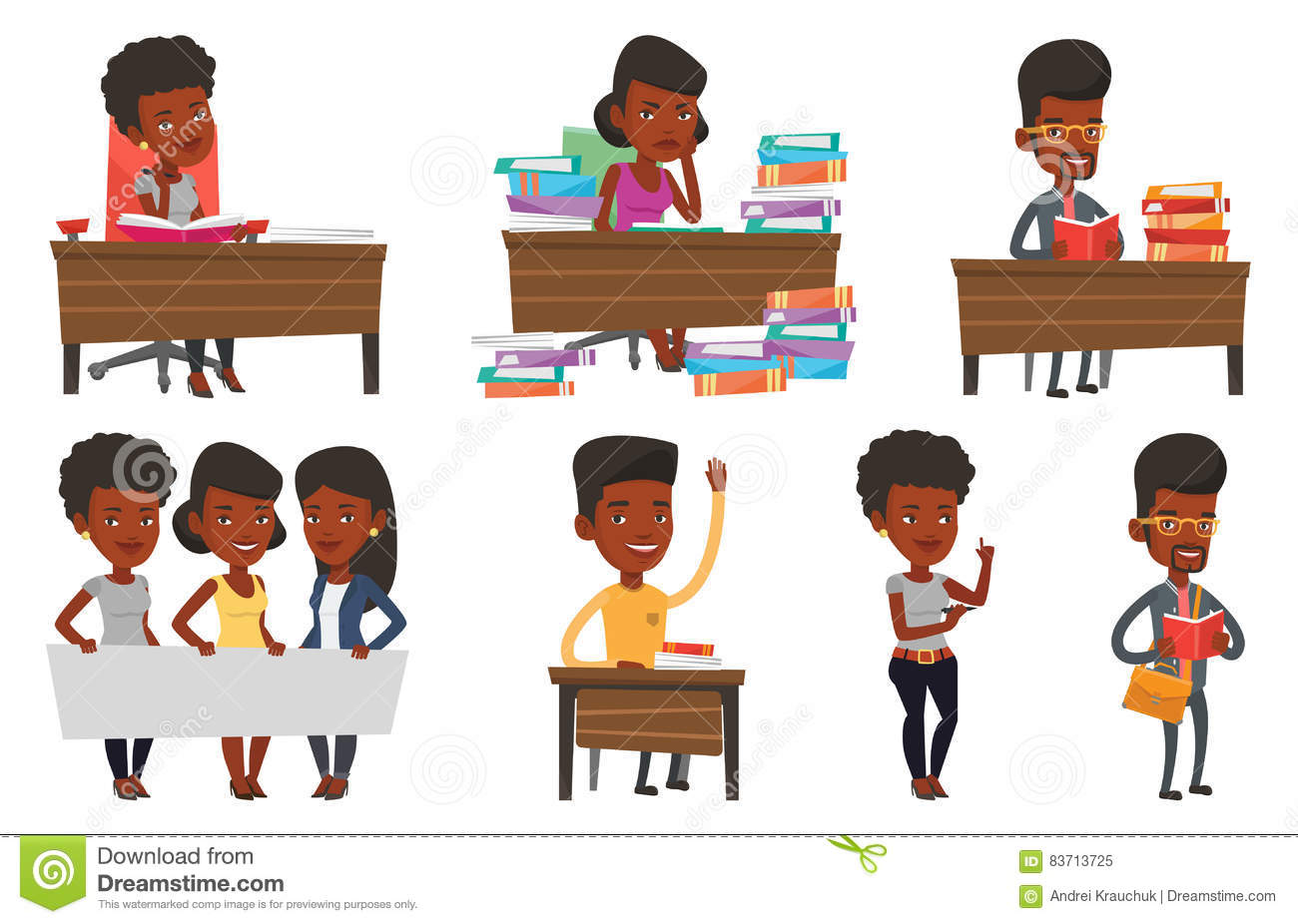 Vector Set Of Student Characters. Stock Vector