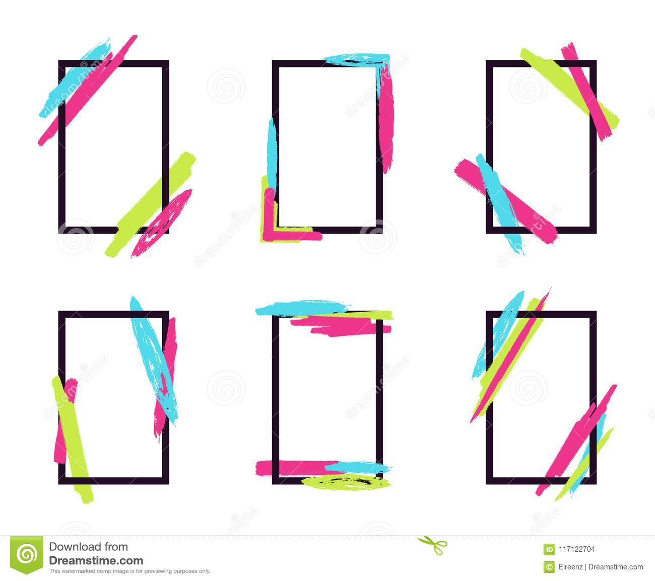 928cc41015 Vector set of stylish dynamic frames with geometric paintbrush elements.  Can be used for business cards