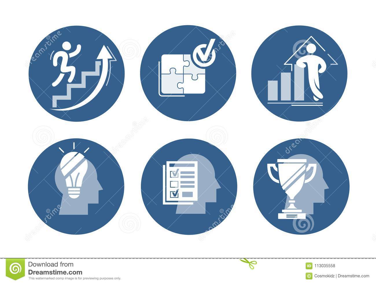 ac5a1d3141d Vector Set Of Success Icons. Increasing Graph With Confident Figure ...