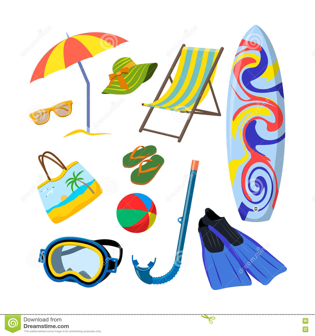 Background With Summer And Beach Objects. Beach Vacation ...