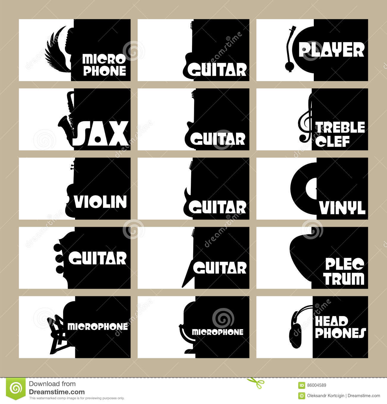 Vector Set Of Template For Business Cards On The Theme Of Musical