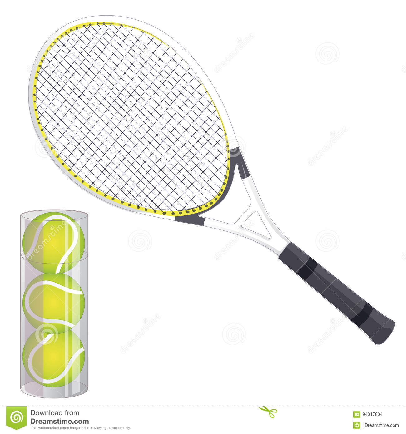Vector Set Of Tennis Rackets And Tennis Balls Isolated On White