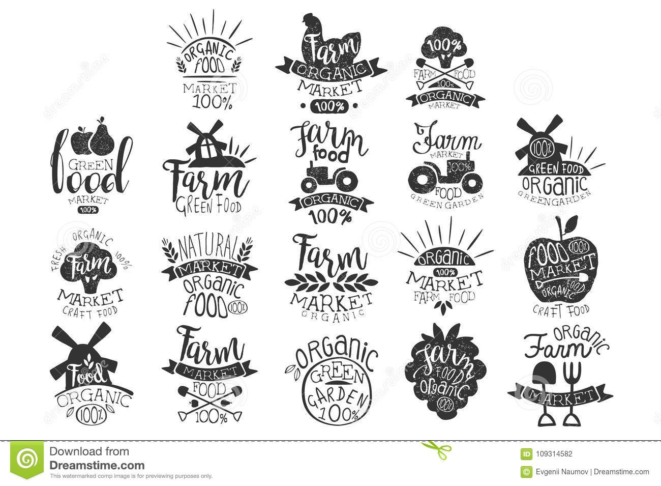 Vector set of textured monochrome labels for farm market. Green garden. Emblem for organic food store. Natural products