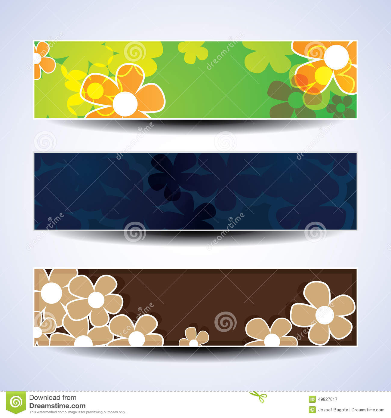 vector set of three banner designs with flowers stock vector image 49827617. Black Bedroom Furniture Sets. Home Design Ideas