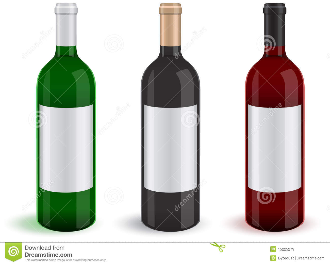 Vector set of three realistic wine bottles royalty free for What to do with a wine bottle