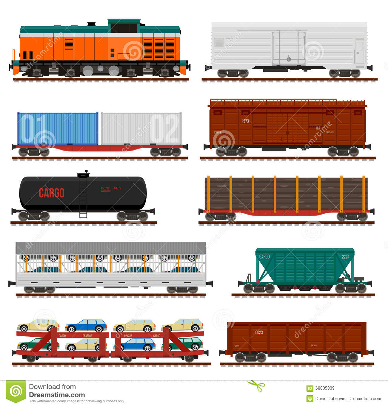 vector set of train cargo wagons tanks cars stock vector illustration of heavy freight. Black Bedroom Furniture Sets. Home Design Ideas