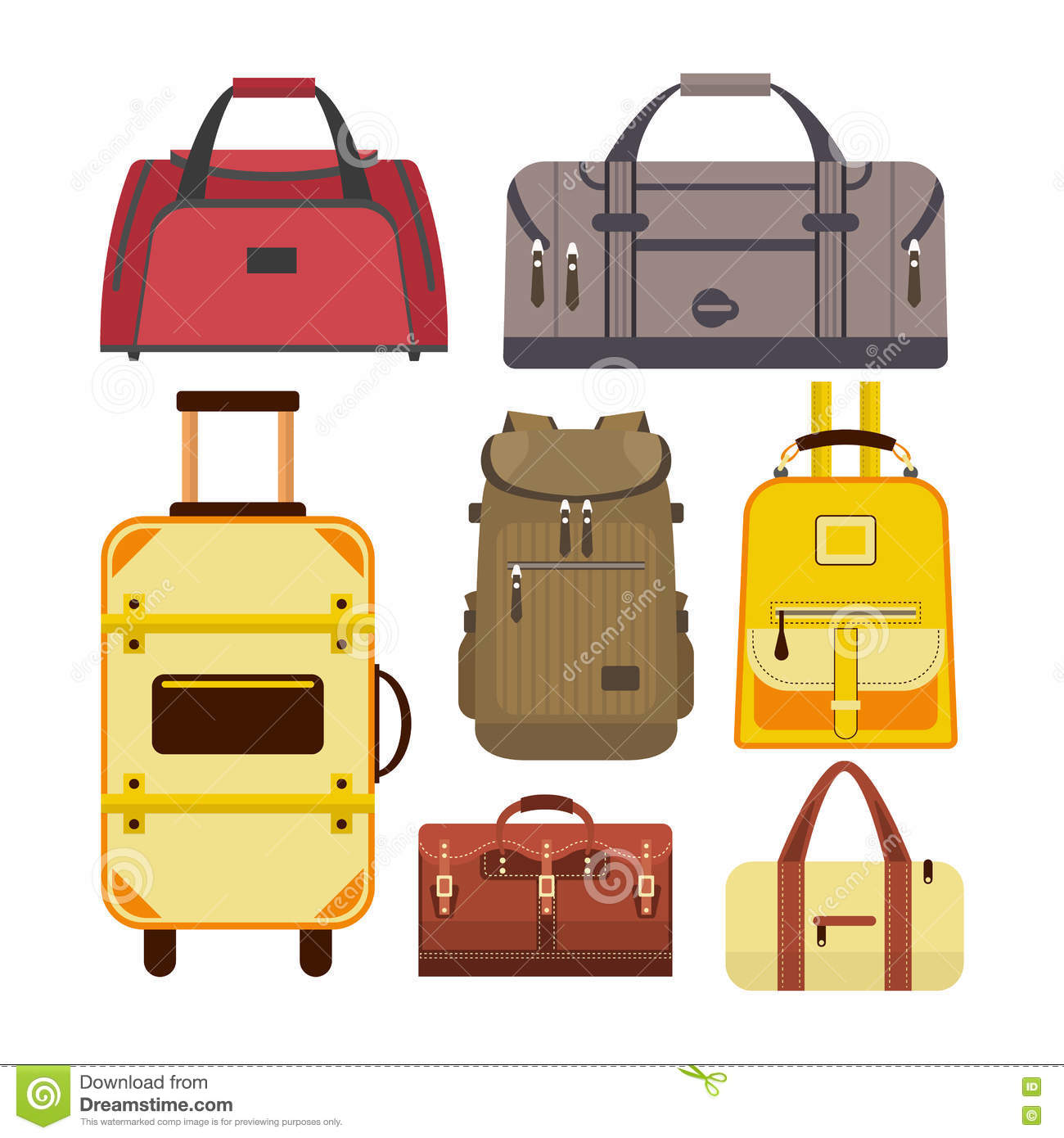 Vector Set Of Travel Bags Illustration With Different
