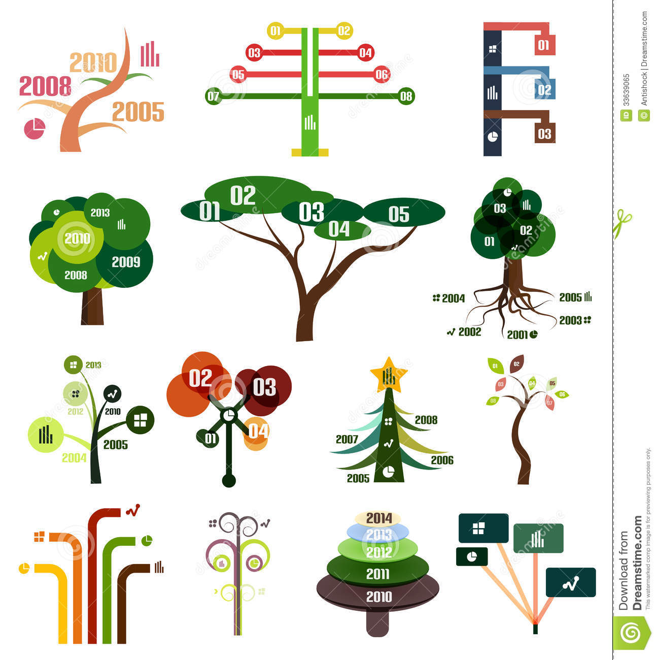 vector set of tree infographic design templates royalty. Black Bedroom Furniture Sets. Home Design Ideas