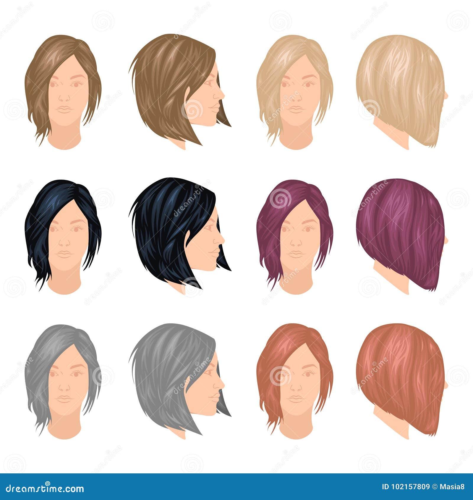 trendy woman hairstyles stock illustration illustration of gray