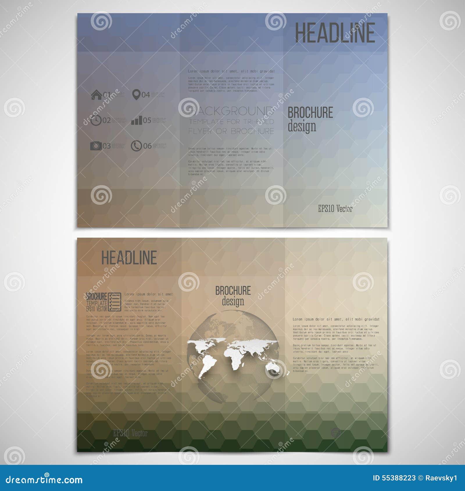 Vector Set Of Tri Fold Brochure Design Template On Stock Vector