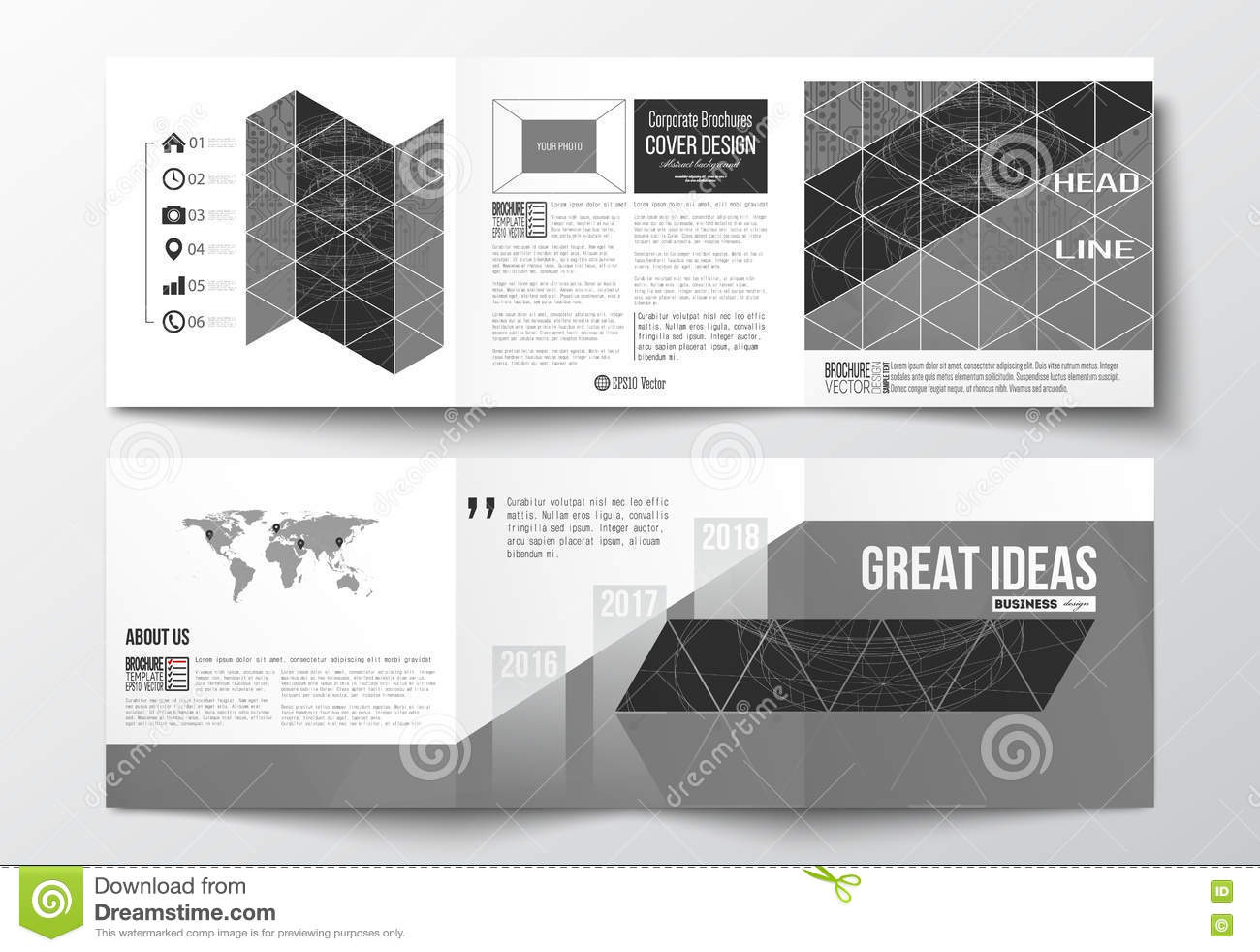 Vector Set Of Tri-fold Brochures, Square Design Templates. Microchip ...