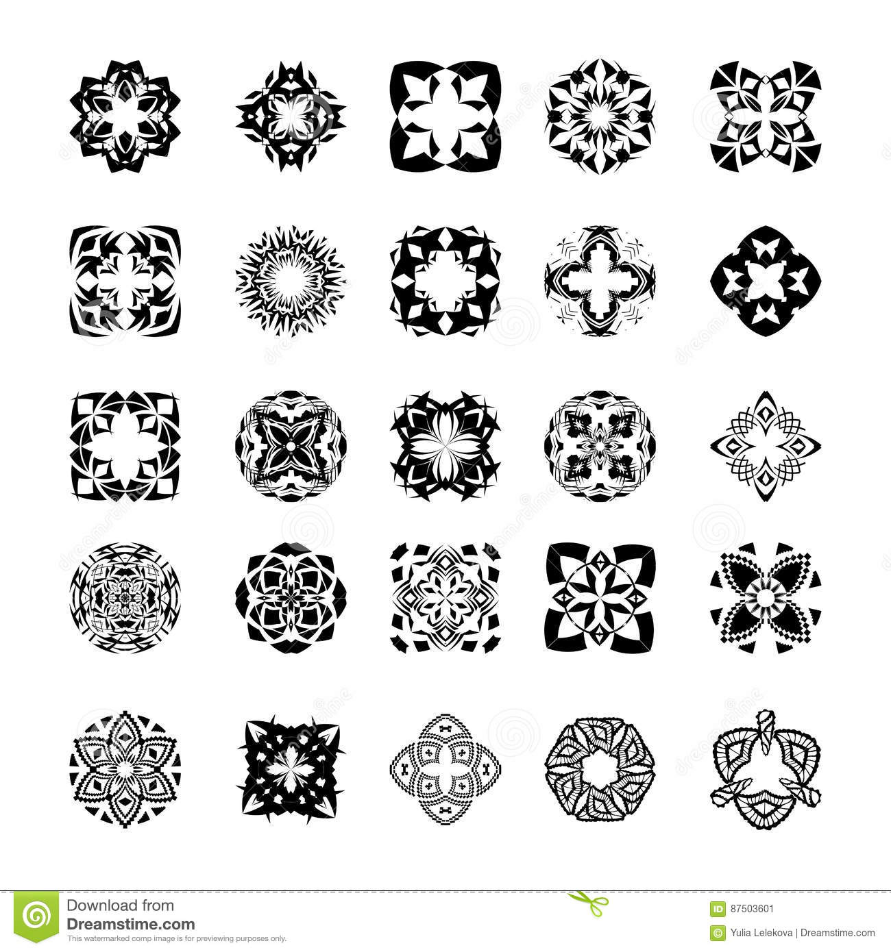 a4109a05a Vector set of tribal black and white decorative patterns for design. Aztec  ornamental style. Ethnic native american indian ornaments