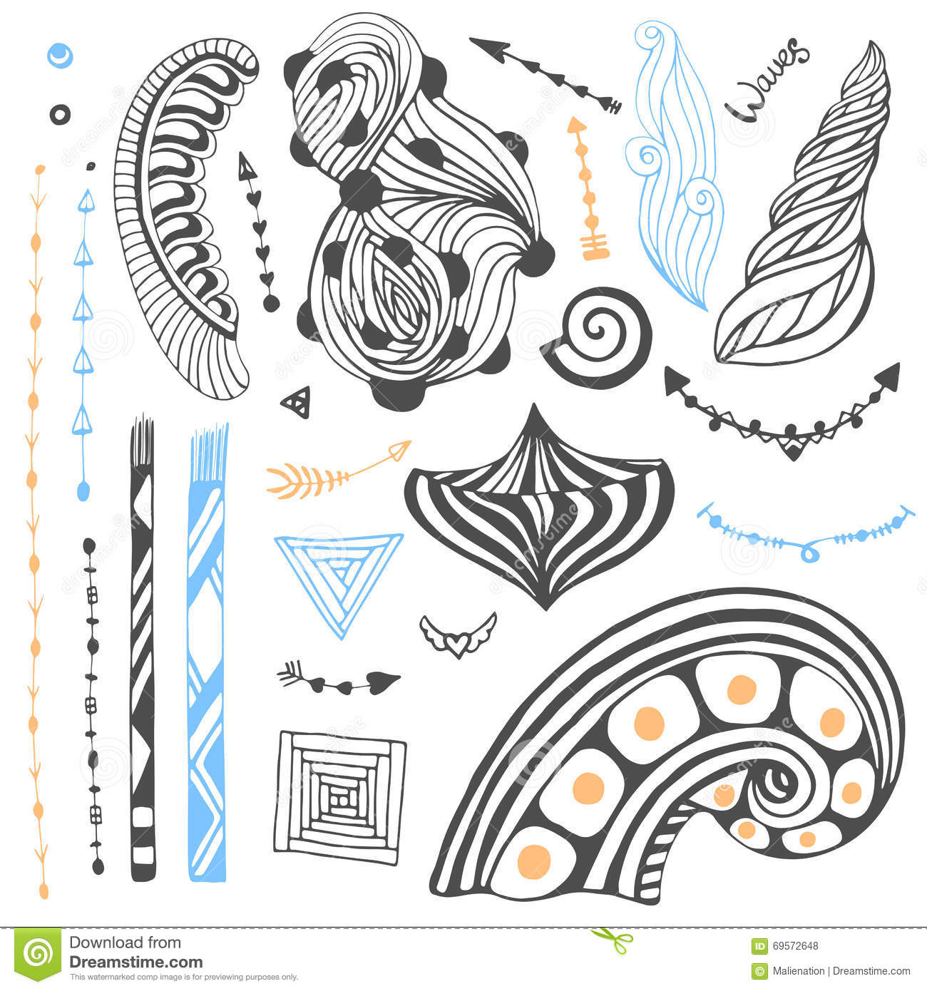 Vector Set With Tribal Doodles. Hand Drawn Collection In