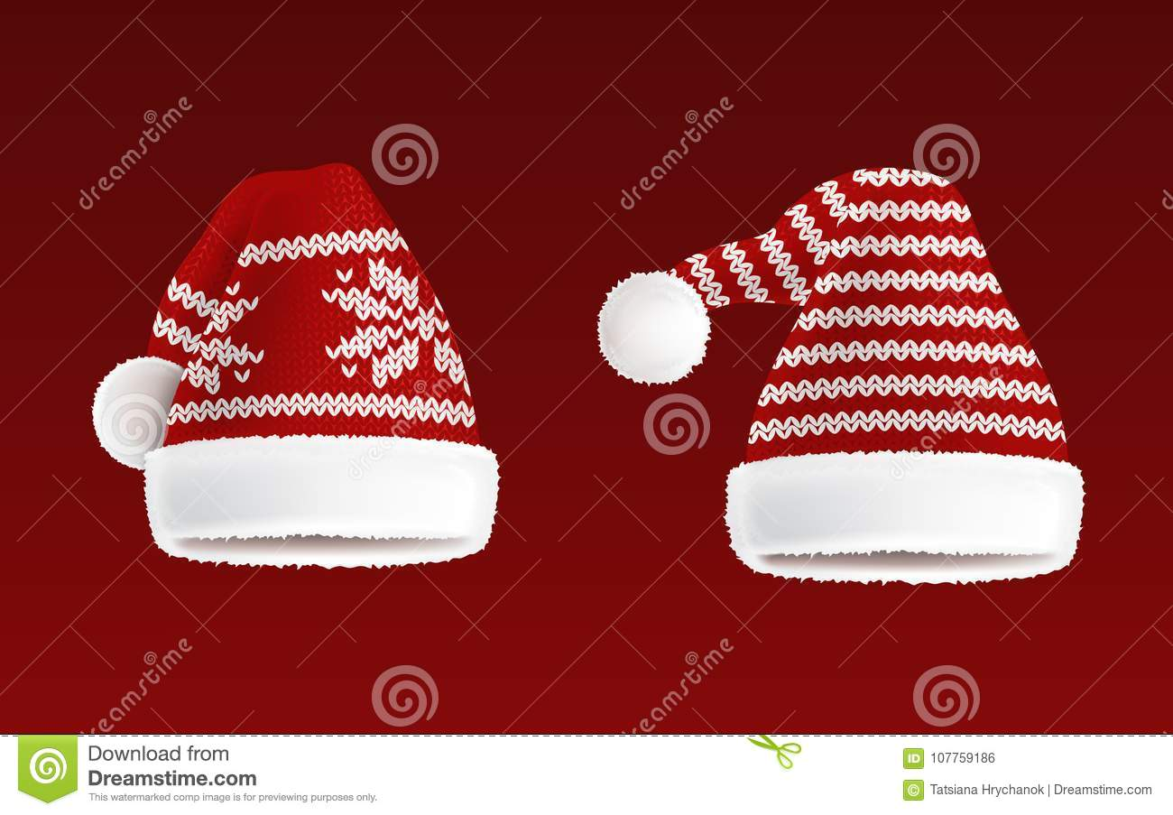 cf3bd117b8b57a Vector 3d realistic illustration of two knitted santa hats with decorative  pattern on them, isolated on red background. Christmas traditional  headdress ...