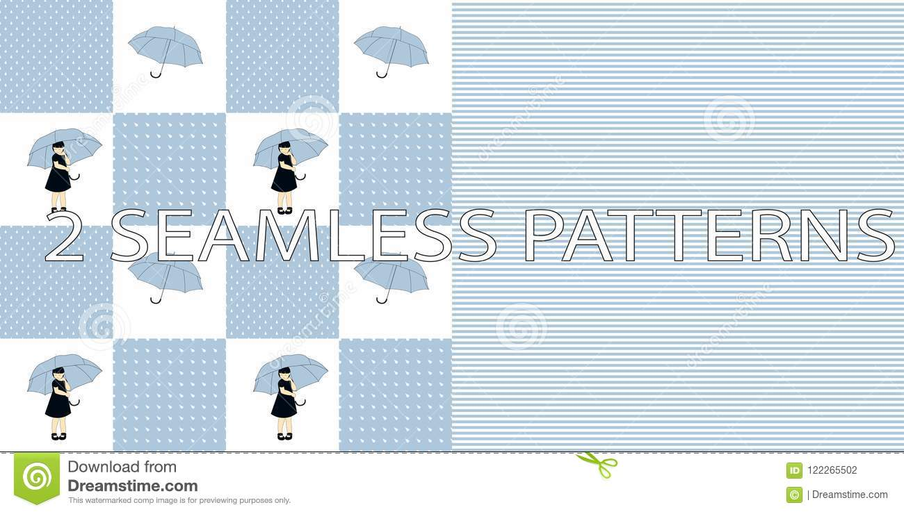 Set of two seamless patterns in blue color