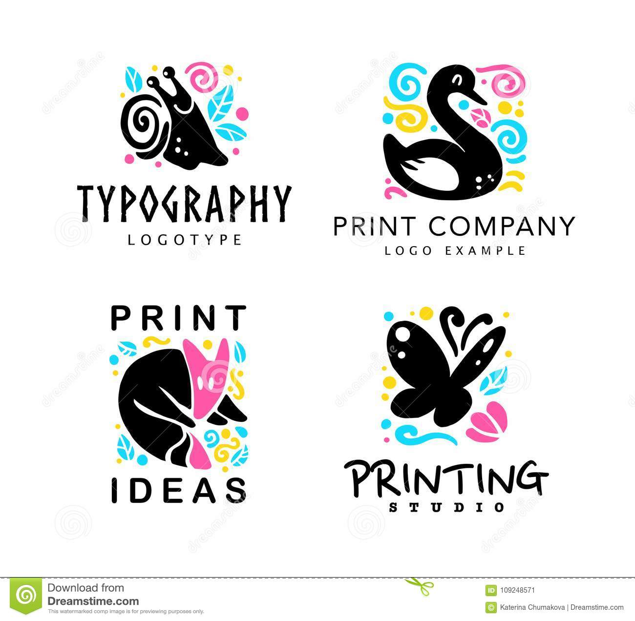 Vector set of typography and design studio logo with cute animals - fox, snail, swan and butterfly.
