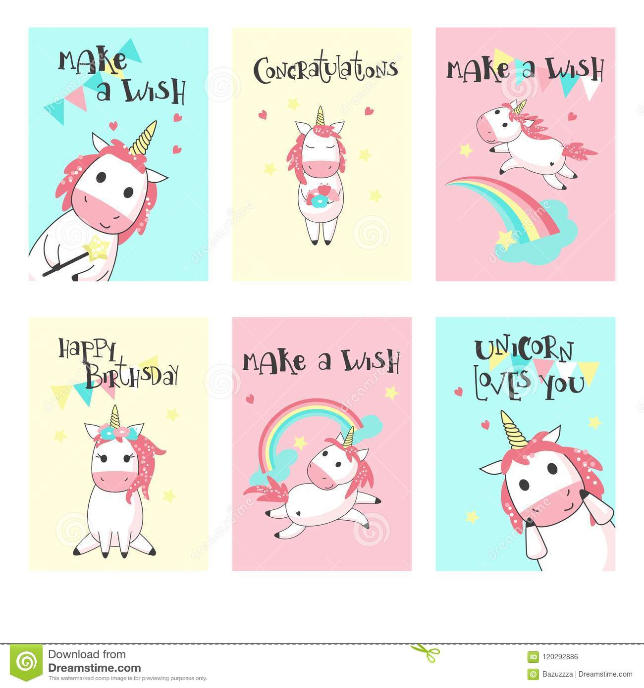Magic Unicorn Birthday Greeting Cards Vector Hand Drawn Illustration Happy Card Templates For Kids With Cute Color Unicorns Rainbows Clouds