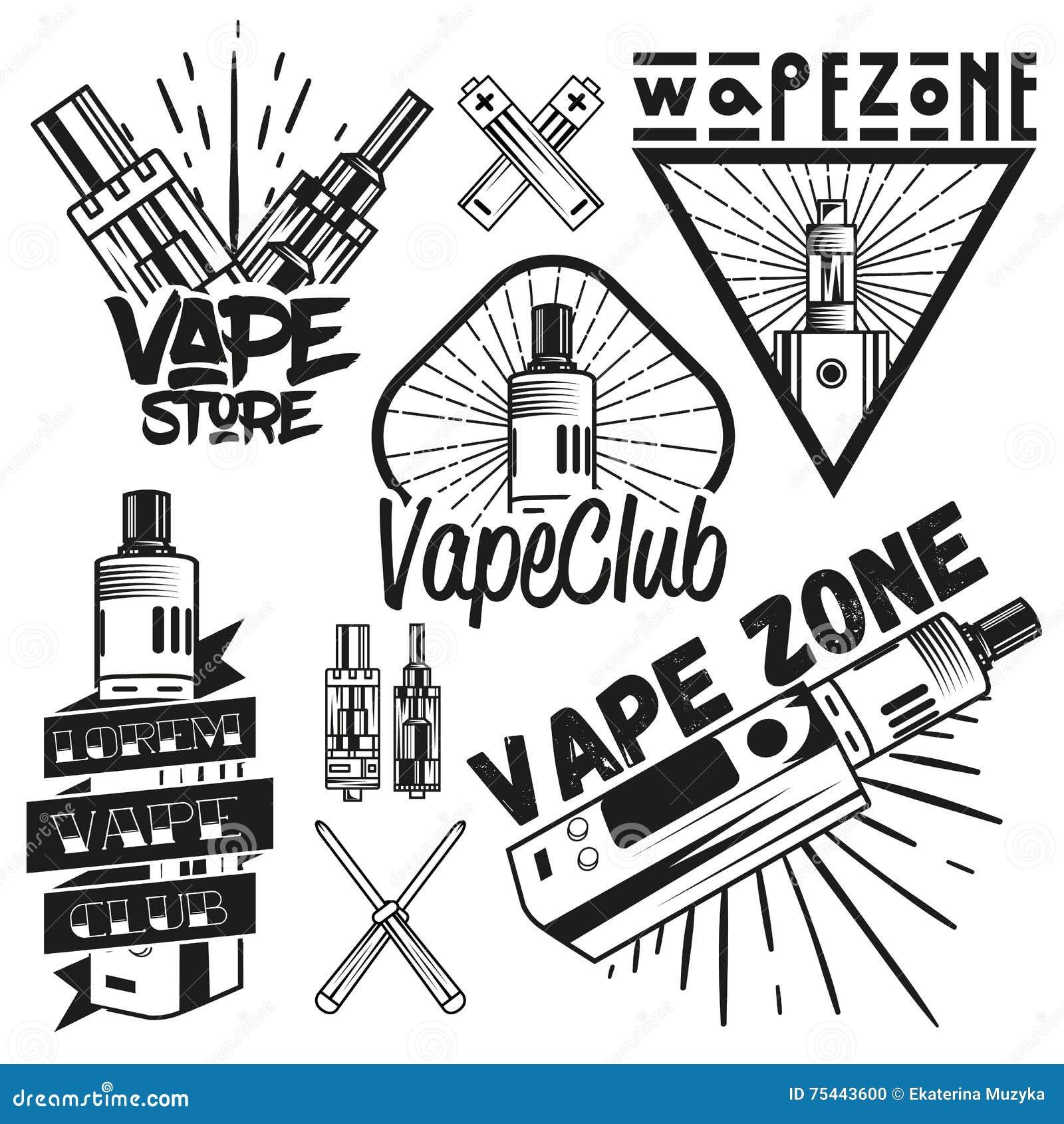 Vector Set Of Vape Shop Labels In Vintage Style Design Elements Icons Logo Emblems And