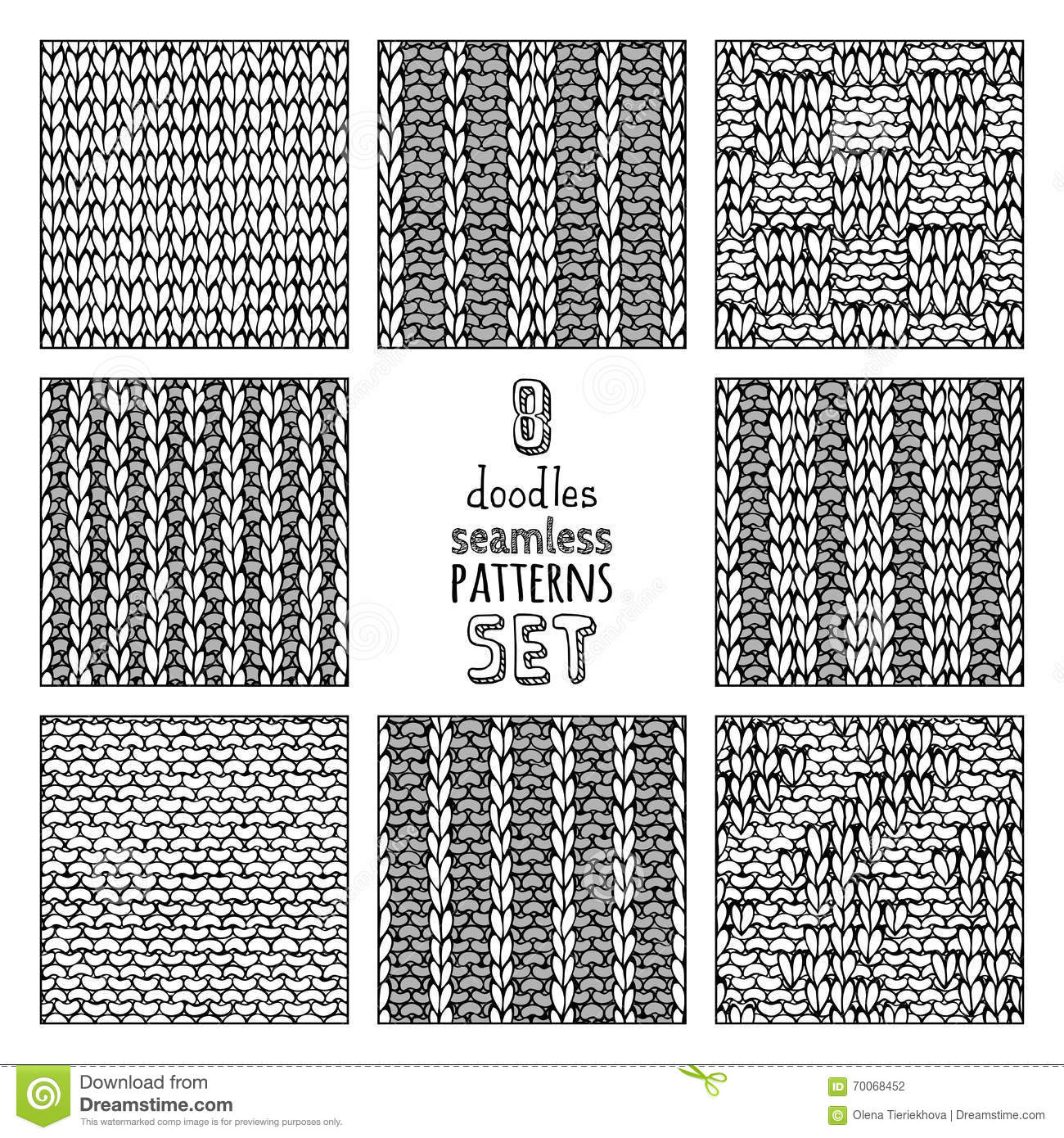 Vector Set Of Various Doodles Stitch Patterns Stock Vector