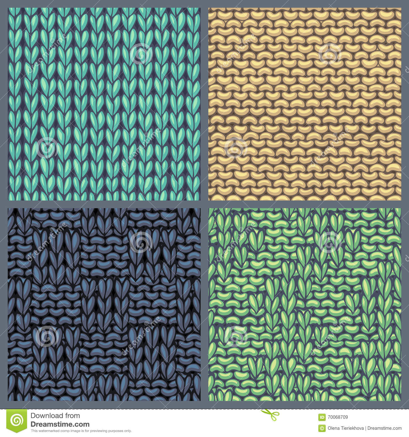 Vector Set Of Various Knitting Patterns. Stock Vector - Illustration ...