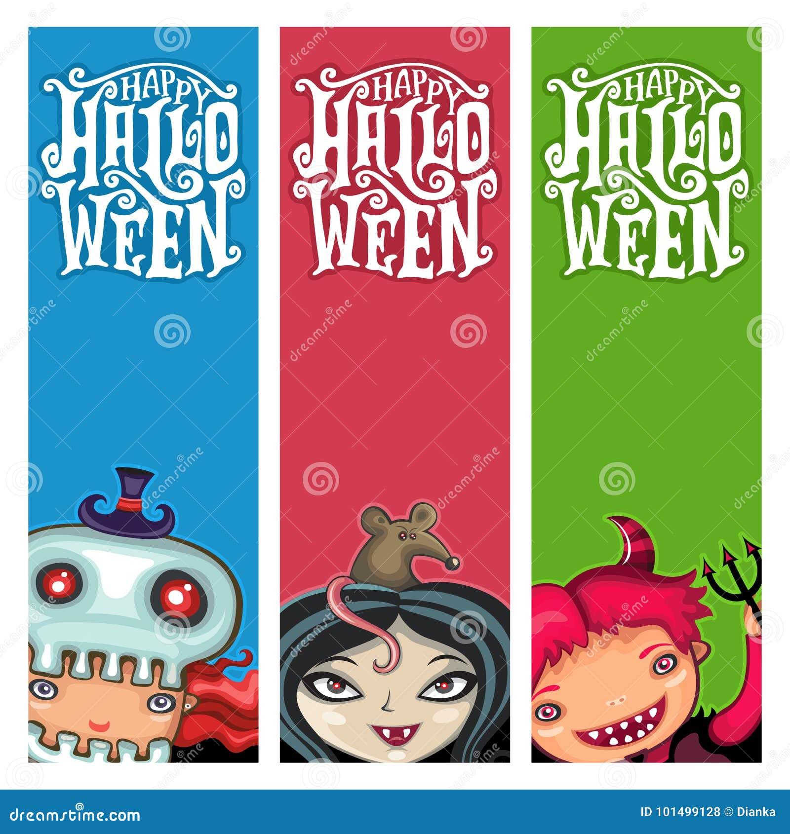 Vector Set Of Halloween Banners With Children Stock Vector ...