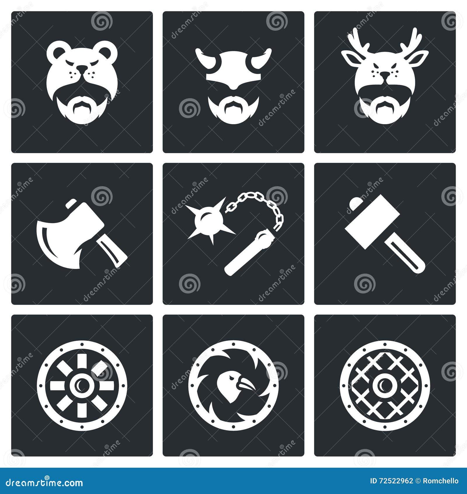 vector set of viking weapons icons head man helmet ax mace hammer shield stock vector. Black Bedroom Furniture Sets. Home Design Ideas
