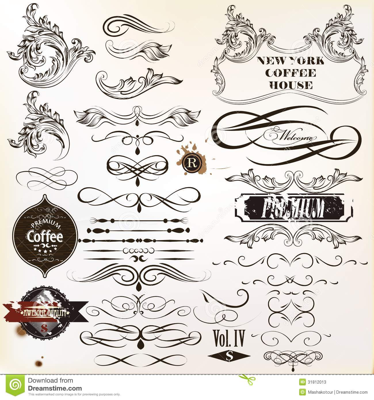 Vector Set Of Vintage Calligraphic Elements And Page