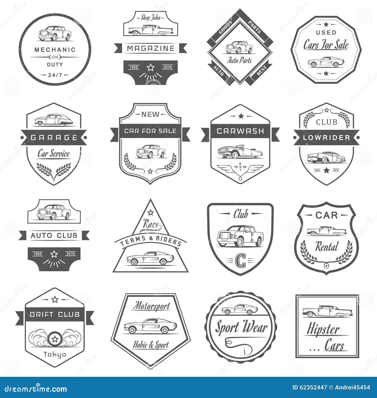 Vector Set Of Vintage Car Badges And Sign Stock Illustration ...