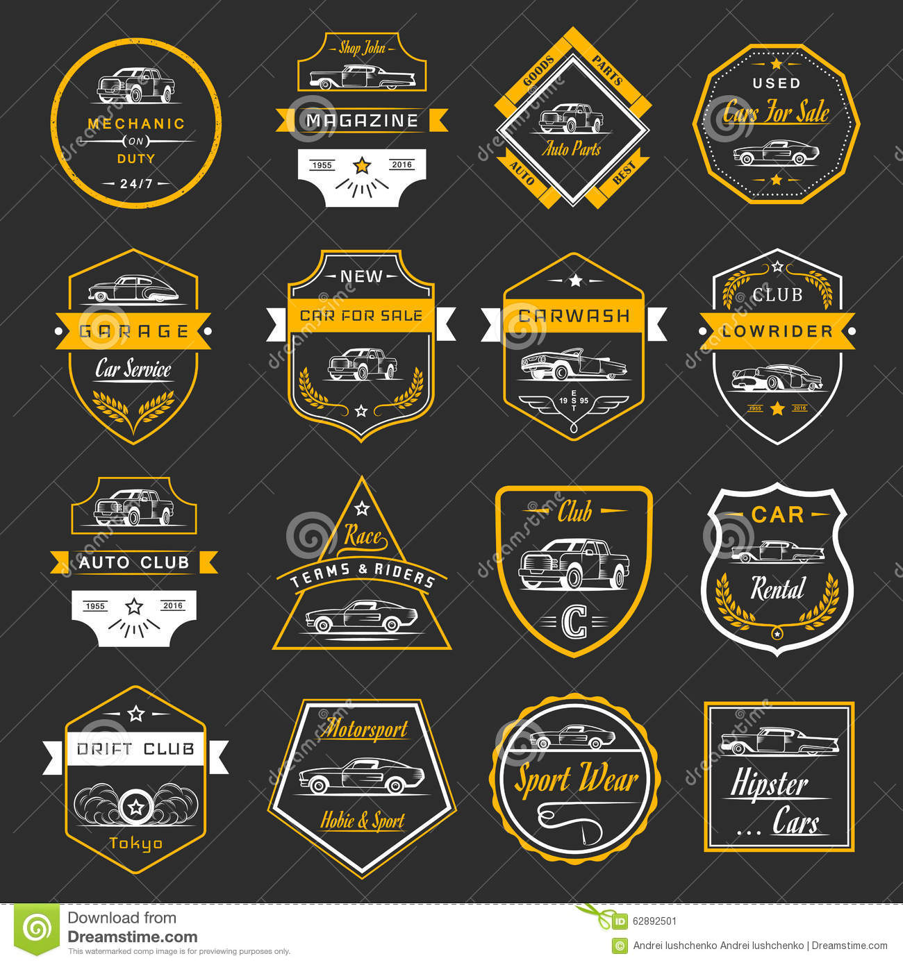Vector Set Of Vintage Car Badges And Sign Stock