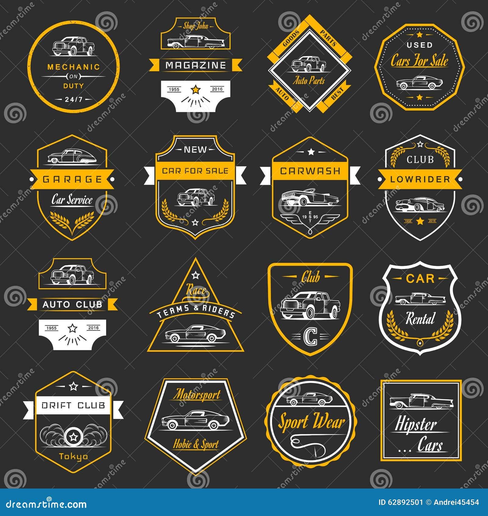 Design car club logo - Vector Set Of Vintage Car Badges And Sign