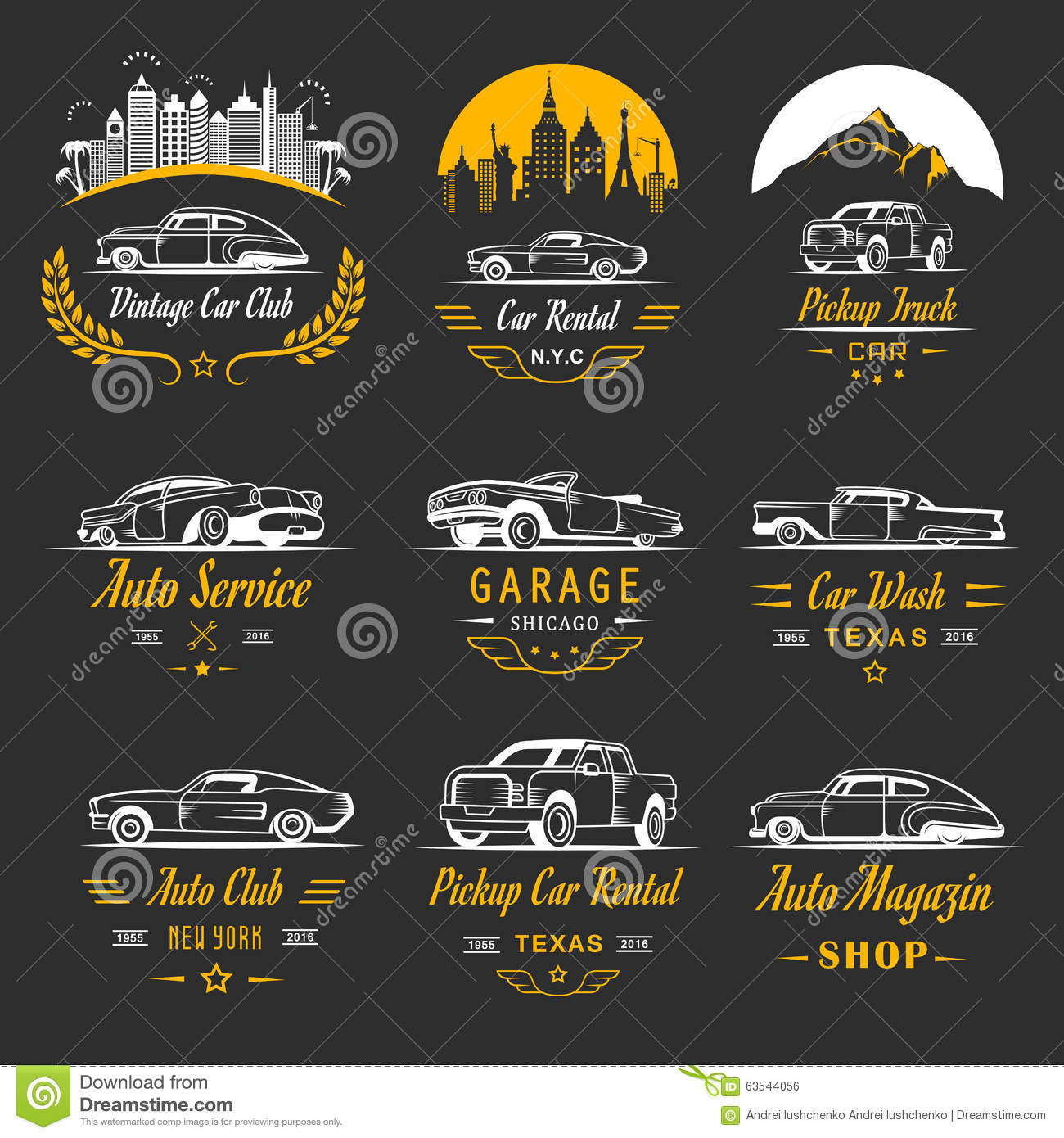 Vector Set Of Vintage Car Badges And Sign Illustration – Free for Sale Signs for Cars