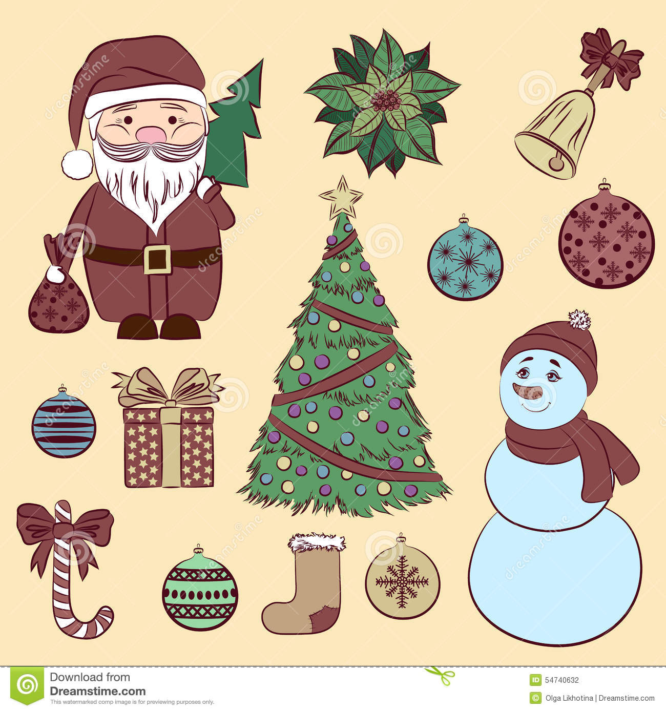 Vector Set Vintage Christmas And New Year S Decorative Elements