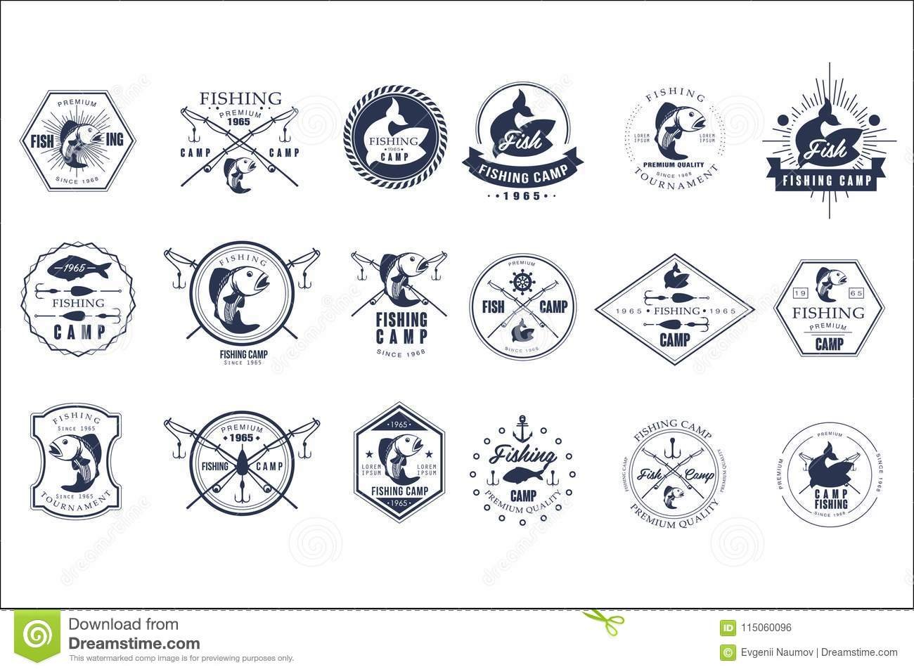 Vector set of vintage fishing camp logo or tournament emblem templates. Original monochrome labels with fishes and fish