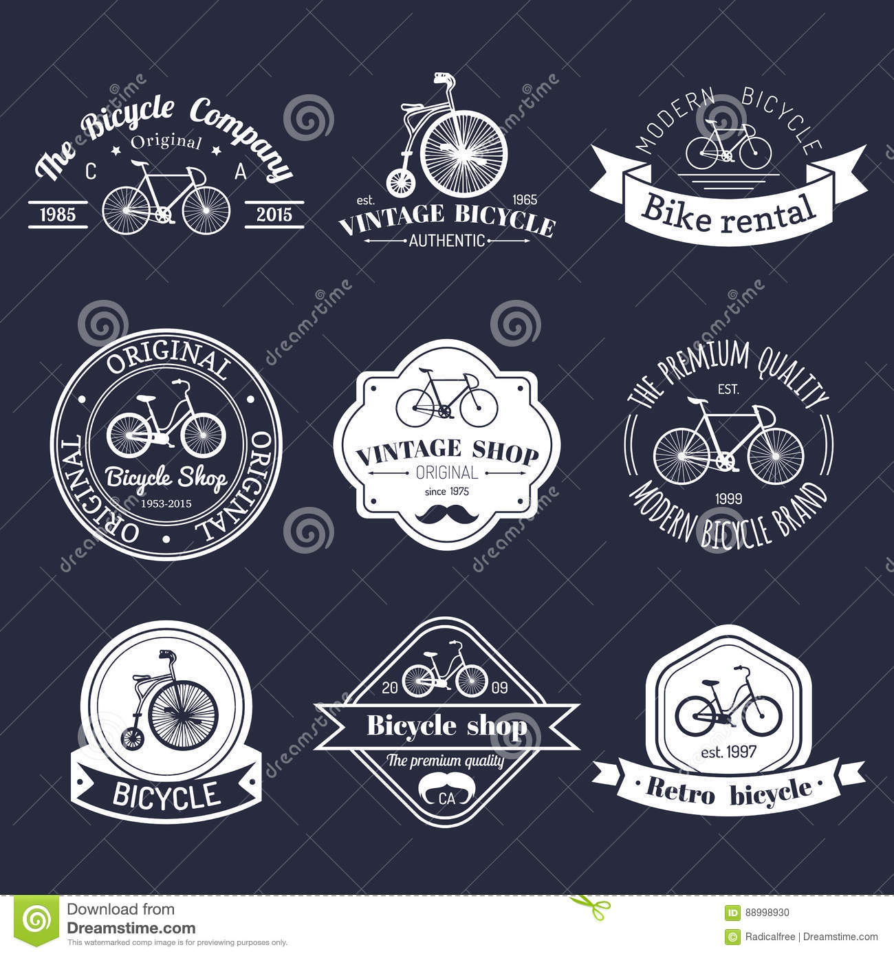 Vector Set Of Vintage Hipster Bicycle Logo Modern Bike Badges Or