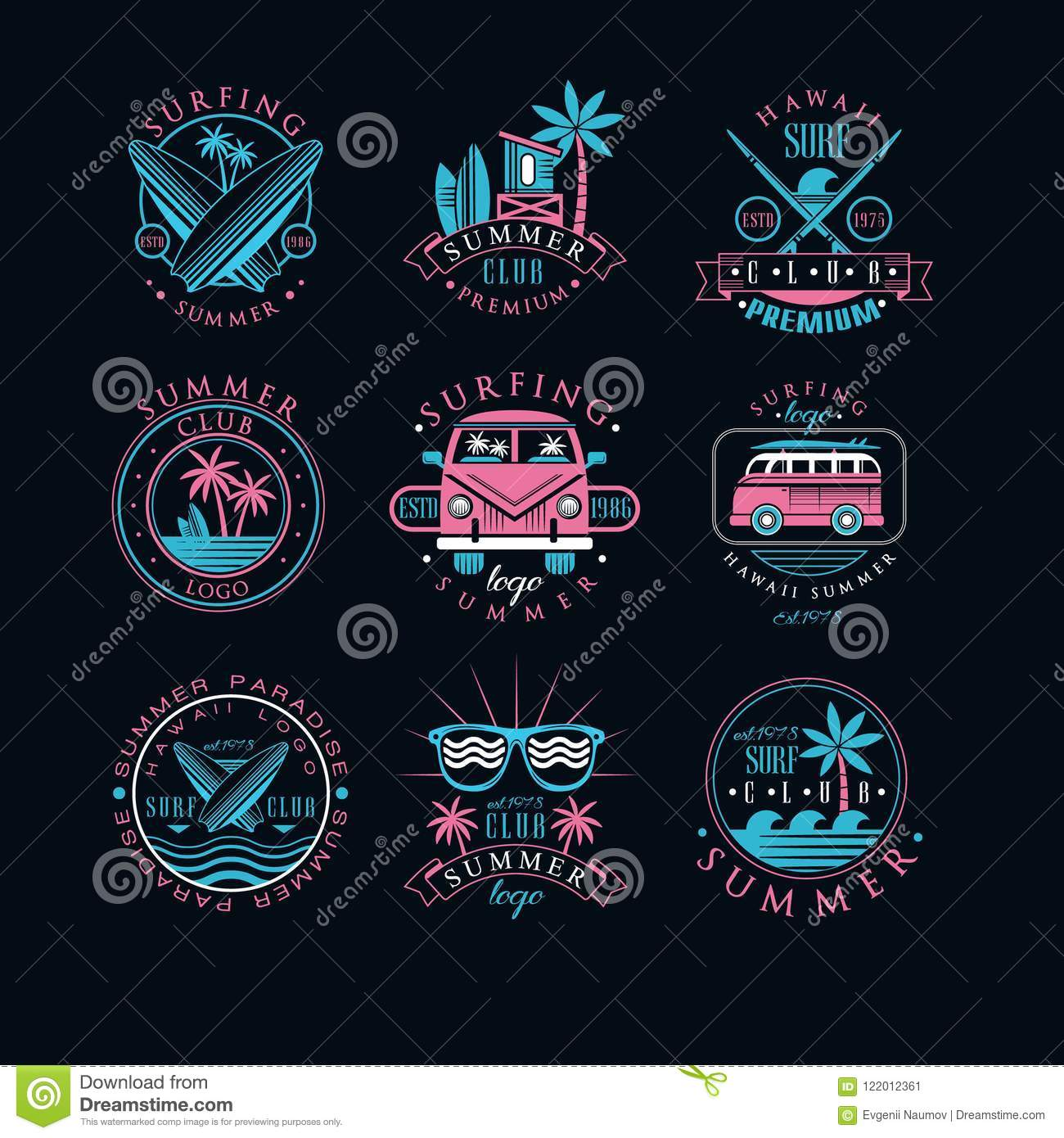 Vector set of vintage logos for surfing club. Creative emblems with surfboards, sunglasses, vans and palm trees. Hawaii